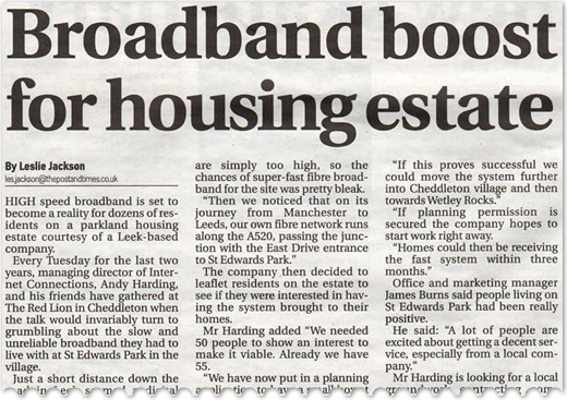 Broadband boost for housing estate